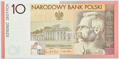 Polska, Józef Piłsudski, 10 złotych 2008, Warszawa, UNC