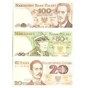 Polska, PRL, lot banknotów 20-100 złotych (1), UNC