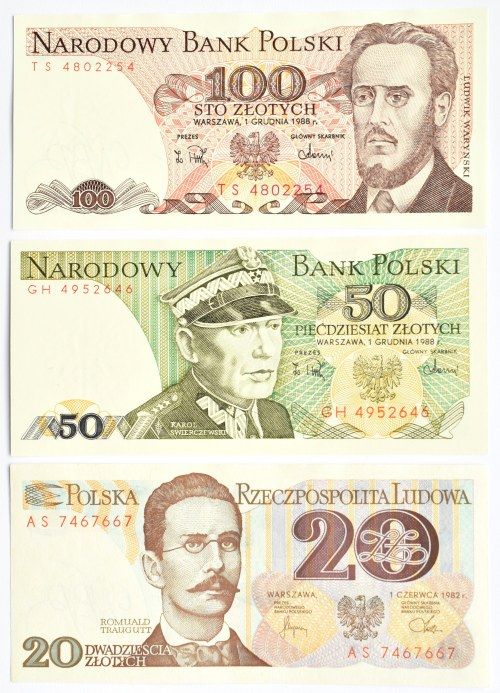 Polska, PRL, lot banknotów 20-100 złotych (3), Warszawa, UNC