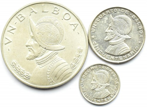 Panama, lot 3 monet Balboa 1953-66, 1, 1/4 i 1/10 balboa, srebro