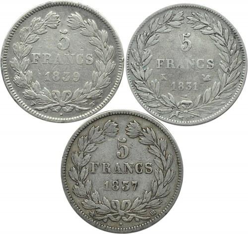 Francja, Ludwik Filip, lot 5 franków 1831-1839, K/W/BB