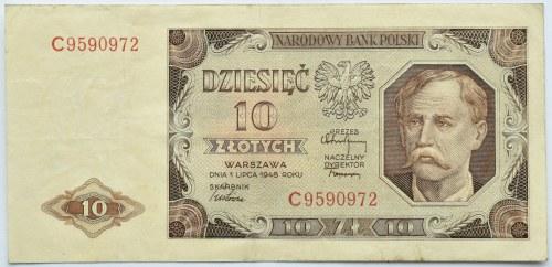 Polska, RP, 10 złotych 1948, seria C, rzadkie