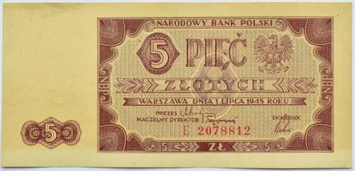 Polska, RP, 5 złotych 1948, seria E, rzadkie