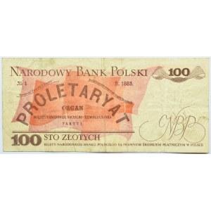 Polska, PRL, 100 złotych 1988 ?, seria HR, destrukt bez nadruku głównego