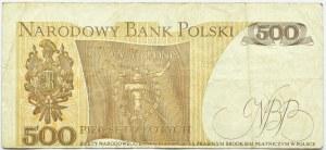 Polska, PRL, 500 złotych 1982, seria EP, obustronnie przesunięty druk