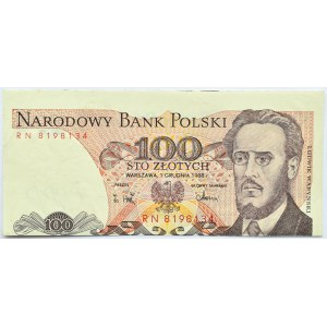 Polska, PRL, 100 złotych 1988, seria RN, obustronnie przesunięty druk