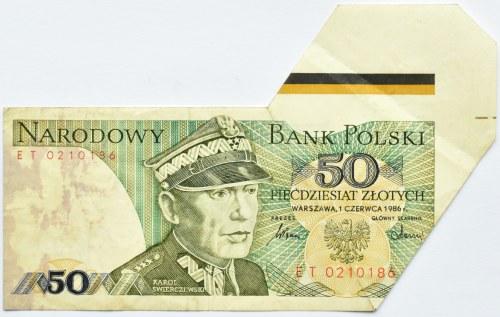 Polska, PRL, 50 złotych 1986, seria ET, źle wycięty banknot, z marginesem