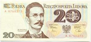 Polska, PRL, Romuald Traugutt, 20 złotych 1982, seria A, UNC