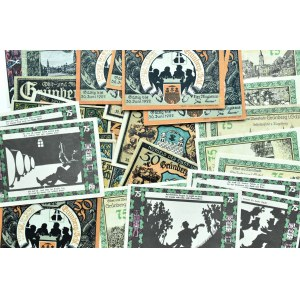 Grunberg, Zielona Góra, lot 32 notgeldy 25 pfennigów - 1,5 marki