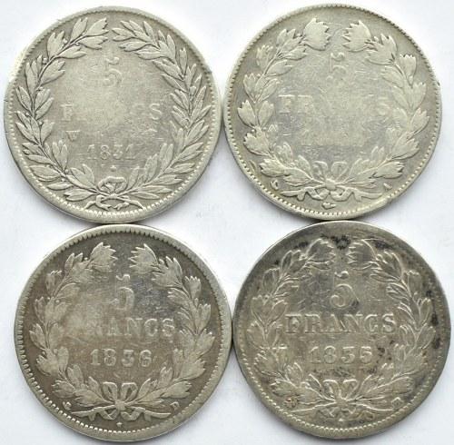 Francja, Ludwik Filip, lot 5 franków 1831-1836, A/D/W/BB