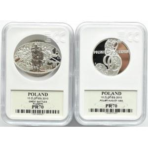 Polska, III RP, Kompletny rocznik 2010 - GCN MS70, oksydowana MS67, UNC