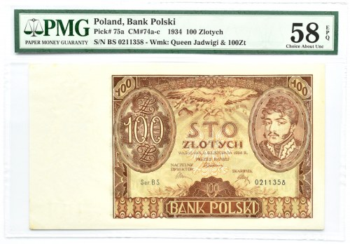 Polska, II RP, 100 złotych 1934, seria BS, Warszawa PMG 58 EPQ