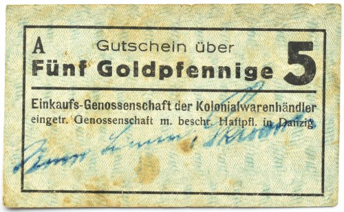 Danzig, Gdańsk, Einkaufs-Genossenschaft, 5 goldpfennig, seria A, rzadkie!