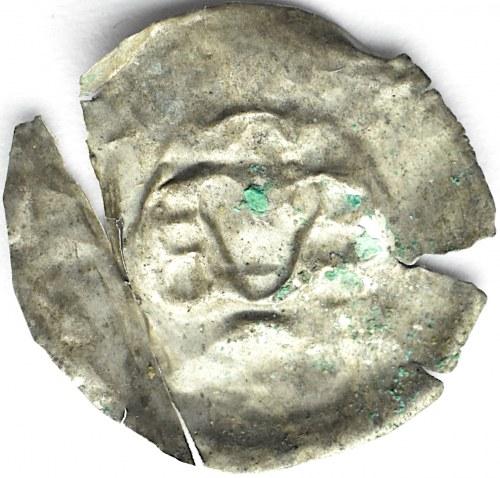 Brakteat, głowa w koronie, kulki-ozdoby, II połowa XII wiek