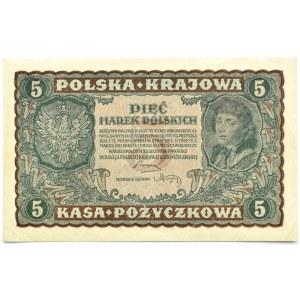 Polska, II RP, 5 marek 1919, II seria CZ