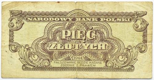 Polska Ludowa, seria lubelska, 5 złotych 1944, seria AC ...-owym