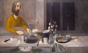 Kiejstut Bereźnicki (ur. 1935 Poznań), Postać w żółtym ze szklankami, 1989