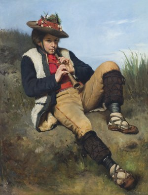 Ajdukiewicz Tadeusz, CHŁOPIEC GRAJĄCY NA FLECIE, 1875