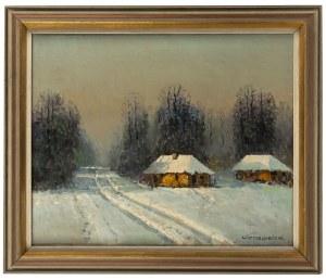 Wiktor Korecki (1890 Kamieniec Podolski - 1980 Milanówek k. Warszawy), Pejzaż zimowy z chatami
