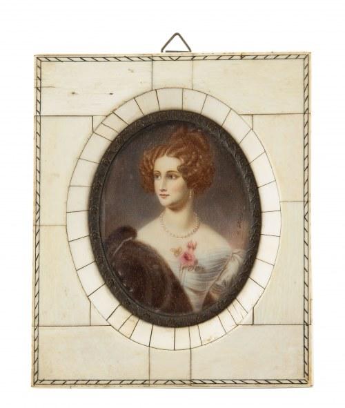 Miniatura, portret kobiety, Wiedeń, k. XIX w.
