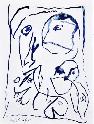 Pierre Alechinsky (Ur. 1927), Niebieska abstrakcja, 1962