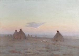 Stanisław STRASZKIEWICZ (1870-1925), Pejzaż ze stogami, 1917