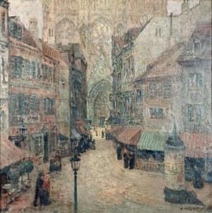 Konstanty MACKIEWICZ (1894-1985), Pejzaż miejski [Katedra w Nantes],1945
