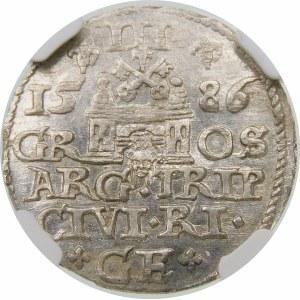 Stefan Batory, Trojak 1586, Ryga – mała głowa, krzyżyk