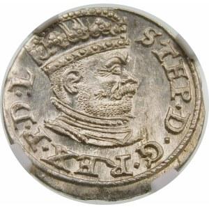 Stefan Batory, Trojak 1586, Ryga – mała głowa