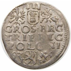 Zygmunt III Waza, Trojak 1593, Poznań – wysoka korona – przebitka AR/EG