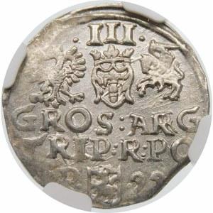 Zygmunt III Waza, Trojak 1599, Poznań – P z lewej - kropki – przebitka SI/GG