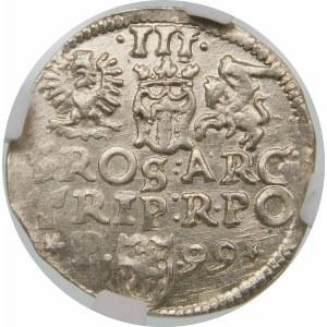 Zygmunt III Waza, Trojak 1599, Poznań – P z lewej – gwiazdki – hybryda