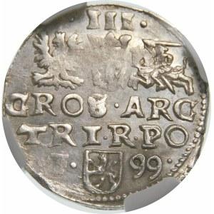Zygmunt III Waza, Trojak 1599, Wschowa – F – 99 – kryza rurkowata