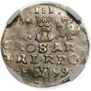 Zygmunt III Waza, Trojak 1599, Wschowa – F – 99 – kryza pofałdowana