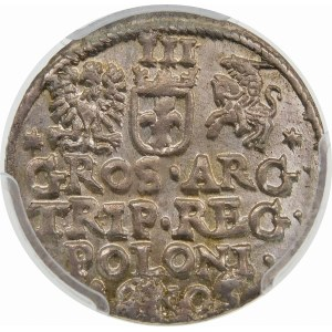 Zygmunt III Waza, Trojak 1605, Kraków – cyfra 5 w dacie z belką