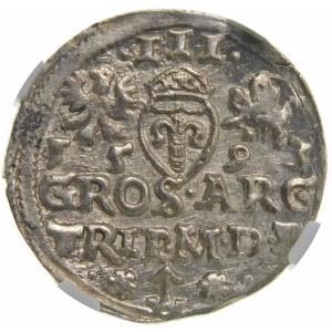 Zygmunt III Waza, Trojak 1593, Wilno – herb Chalecki z rozetkami i kropkami po bokach