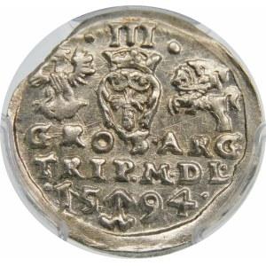 Zygmunt III Waza, Trojak 1594, Wilno – pełna data rozdzielona herbem Chalecki