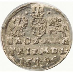 Zygmunt III Waza, Trojak 1595, Wilno – pełna data rozdzielona herbem Chalecki – kropki