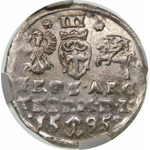 Zygmunt III Waza, Trojak 1595, Wilno – pełna data rozdzielona herbem Chalecki – rozetki