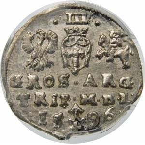 Zygmunt III Waza, Trojak 1596, Wilno – pełna data rozdzielona herbem Chalecki/Prus