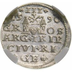 Zygmunt III Waza, Trojak 1590, Ryga – małe popiersie – krzyżyki i kropka