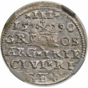 Zygmunt III Waza, Trojak 1590, Ryga – małe popiersie – krzyżyki