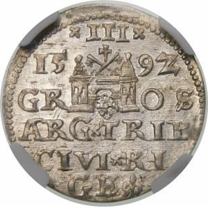 Zygmunt III Waza, Trojak 1592, Ryga – LI – piękna