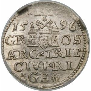 Zygmunt III Waza, Trojak 1596, Ryga – LI∙ – krzyżyki i kropki – piękna
