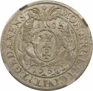 Jan II Kazimierz, Ort 1658/7, Gdańsk – GEDANENSIS – przebitka daty