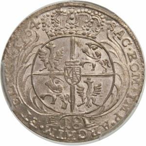 August III Sas, Ort 1754 EC, Lipsk – szerokie popiersie – odmiana