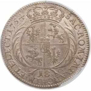 August III Sas, Ort 1754 EC, Lipsk – wąskie popiersie