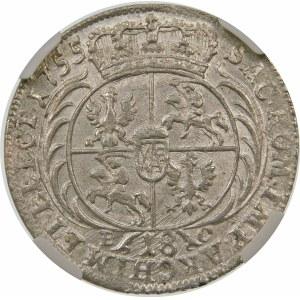 August III Sas, Ort 1755 EC, Lipsk – szerokie popiersie – odmiana