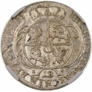 August III Sas, Ort 1755 EC, Lipsk – małe popiersie – odmiana