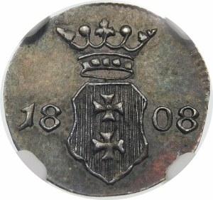Wolne Miasto Gdańsk, Szeląg 1808 M – czyste srebro – rzadka